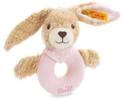 Steiff Hoppel rabbit grip toy with rattle, pink