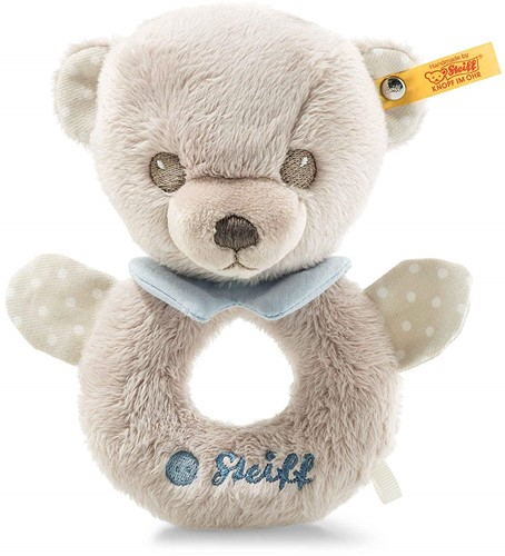 Steiff Hello Baby Levi Teddy bear grip toy with rattle in gift box, grey/blue