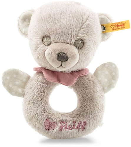 Steiff Hello Baby Lea Teddy bear grip toy with rattle in gift box, grey/pink