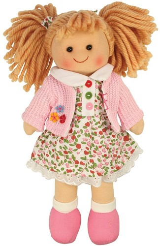Bigjigs Poppy - Blonde Hair/Flower Dress/Pink Cardi