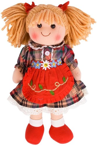 Bigjigs Mandie - Blonde Hair/Red Check Dress/Red Pinnie