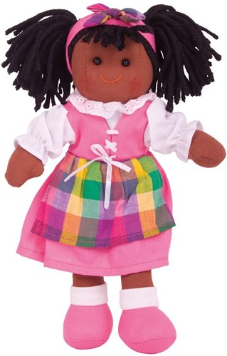 Bigjigs Jess -Dark Brown Hair/Pink Dress,Check Tabard & White Blouse