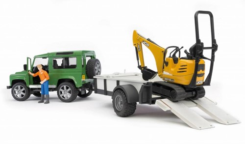 BRUDER Land Rover Defender with trailer, CAT and man veicolo giocattolo